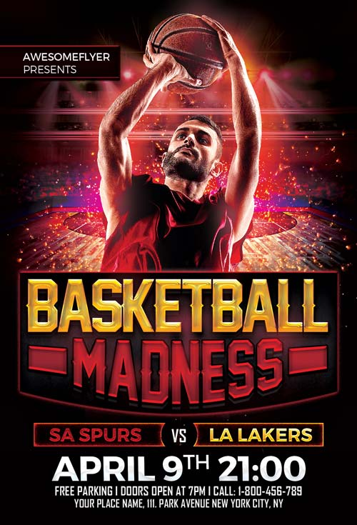 Free Basketball Madness Flyer Template - free sports flyer templates