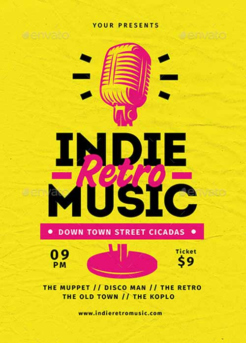 Download the Indie Retro Music Flyer Template