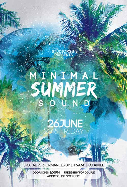 Download the Minimal Summer Party Flyer Template - summer flyer template