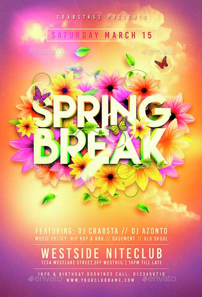 Colorful Spring Break Flyer Template - spring flyer template