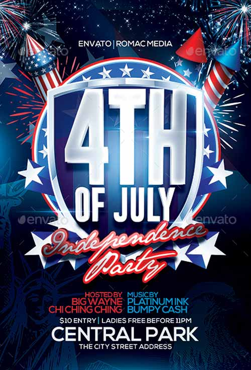 Download the 4th of July Party Flyer Template - 4th of july template