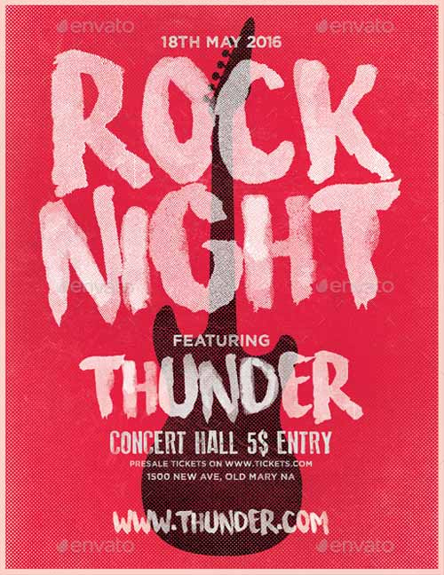Download the Rock Night Typography Flyer Template