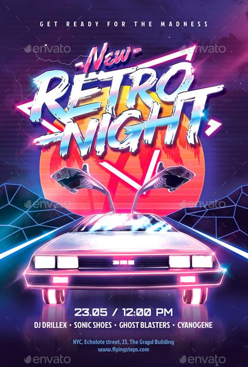 Download the 80`s New Retro Night Party Flyer Template for Photoshop - retro flyer template