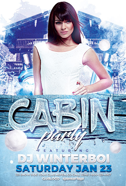 FFFLYER Download the Cabin Party Flyer Template for Photoshop
