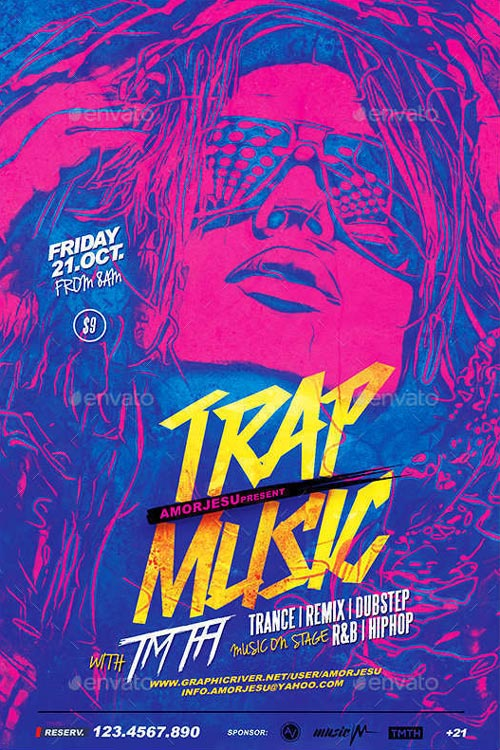 FFFLYER Download the Trap Music Flyer Template for Photoshop - music flyer template