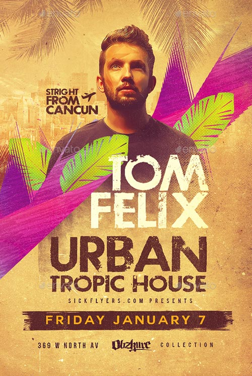 Tropical House Flyer PSD Template for Photoshop