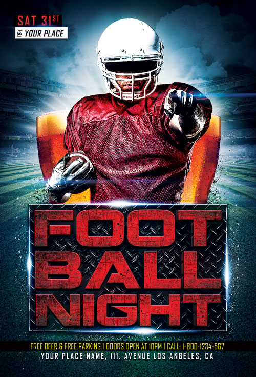 Football Night Sports Flyer Template - Download Sport Flyer for