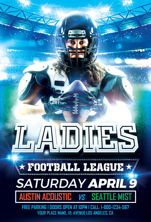 Women\u0027s Football Flyer Template - Download Sport Flyer for Photoshop