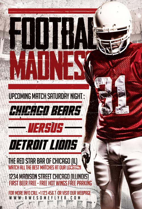 Football Madness Flyer Template - Download Flyer for Photoshop