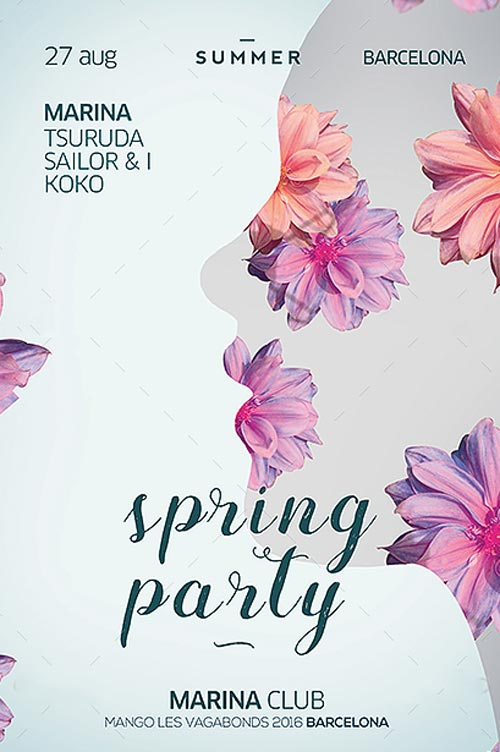 Spring Club Party Flyer Template - Download Flyer Templates for