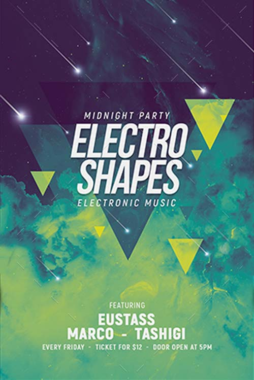 FFFLYER Electro Shapes EDM Party Flyer Template - Best Flyer for - electro flyer