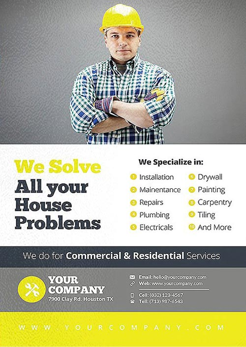Handyman Business and Service Flyer Template - Download Flyer for