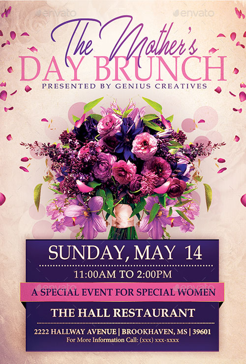 Mothers Day Brunch Event Flyer Template for the perfect Mothers Day!
