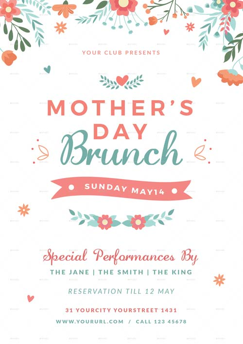 Mothers Day Brunch Flyer Template for the perfect Mothers Day Event! - mothers day flyer