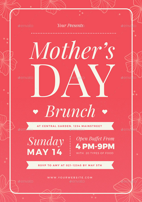 Mothers Day Brunch Illustrator Flyer Template for the perfect - mothers day flyer