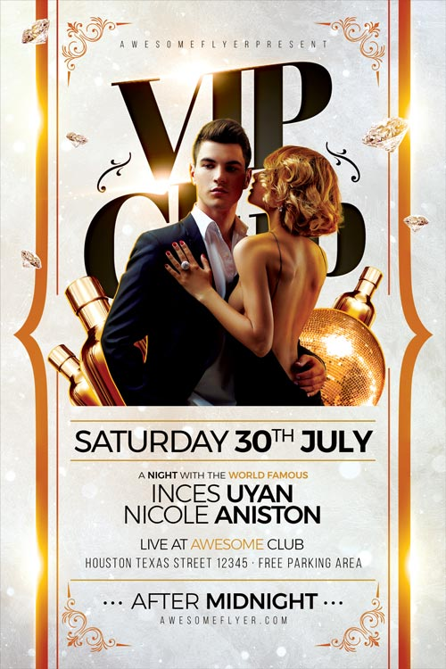 VIP Club Party Flyer Template - Best Elegant Party Flyer Templates!