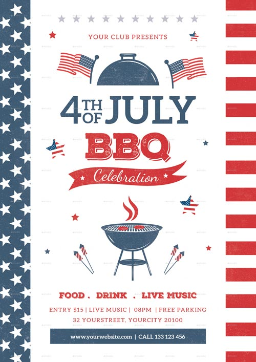 4th Of July BBQ Flyer Template - Best 4th of July Party Flyers! - 4th of july template