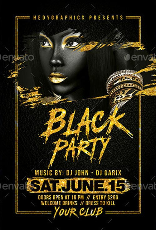 Black Party Flyer Template - Elegant Flyer Templates for Party Club