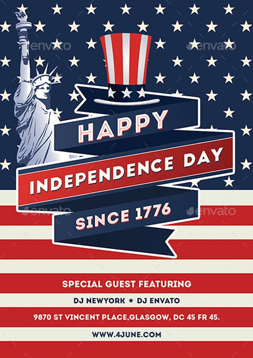 Independence Day Flyer Template - Best 4th of July Party Flyer