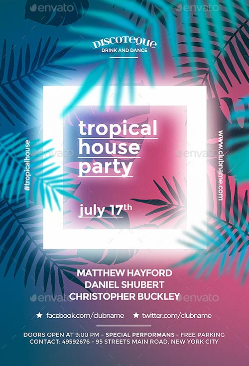 Tropical Summer Flyer Template - Flyer Templates for Party Club Events