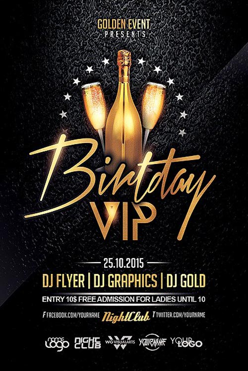 Birthday VIP Party Flyer Template - Flyer for Club and Party Events