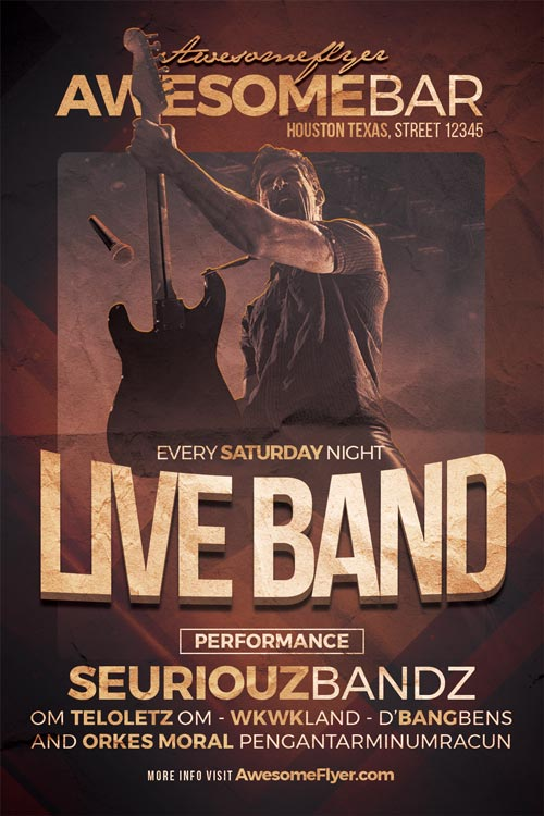 Live Band Flyer Template - Flyer for Rock Concerts, Bar and Pub Events