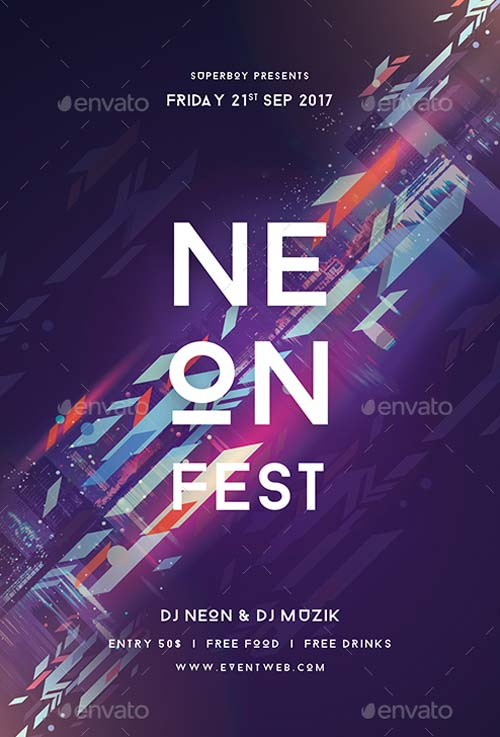 Neon Fest Party Flyer Template for Electro Festivals and EDM Events