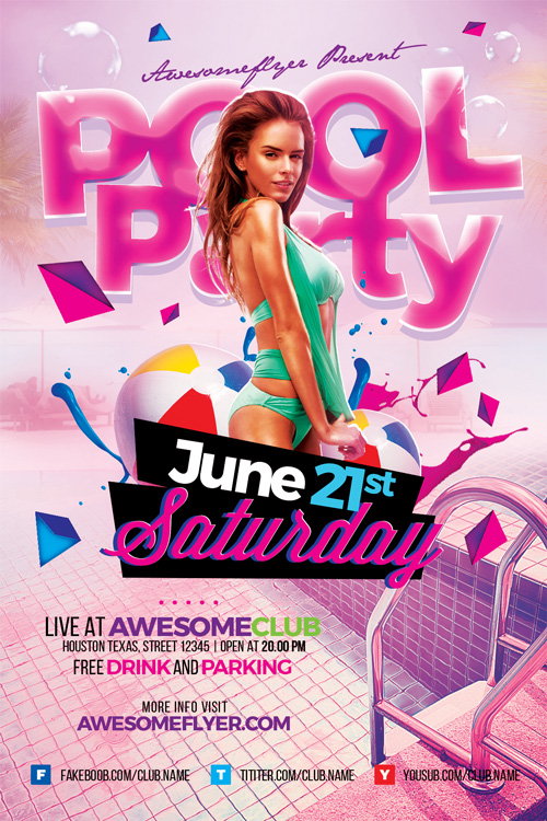 Summer Pool Party PSD Flyer Template - Flyer for Summer Pool Parties