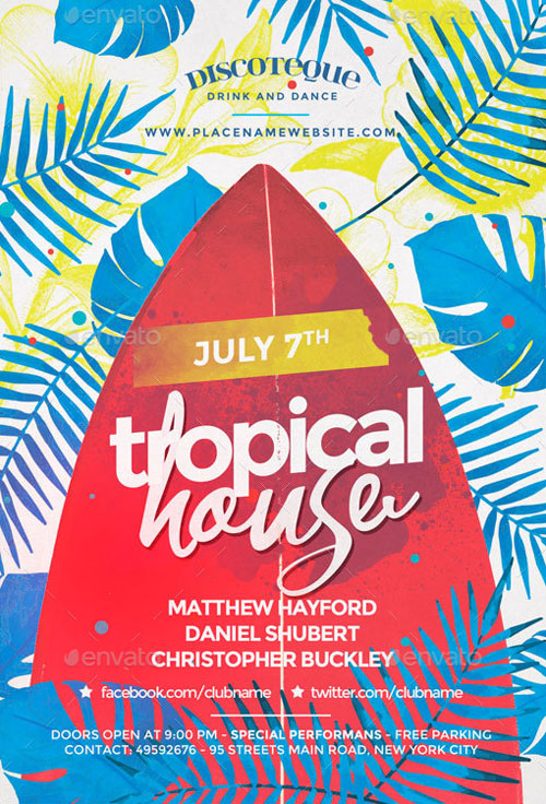 Summer Tropical House Party Flyer Template - Flyer for Party Club Events
