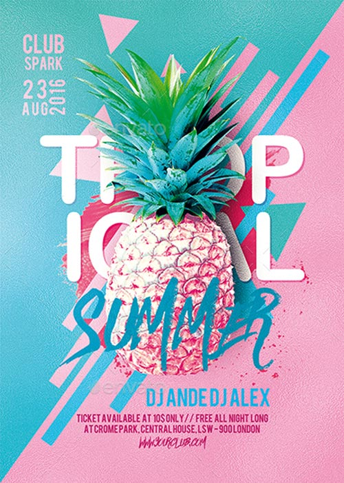 Tropical Summer Party Flyer Template - Flyer for Party Club Events