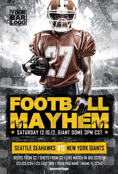 Football Mayhem Vol 2 Flyer Template - Football and Tailgate Party Flyer
