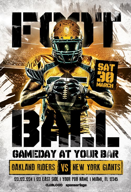 American Football Game Day Flyer Template - Get Football Party Flyer