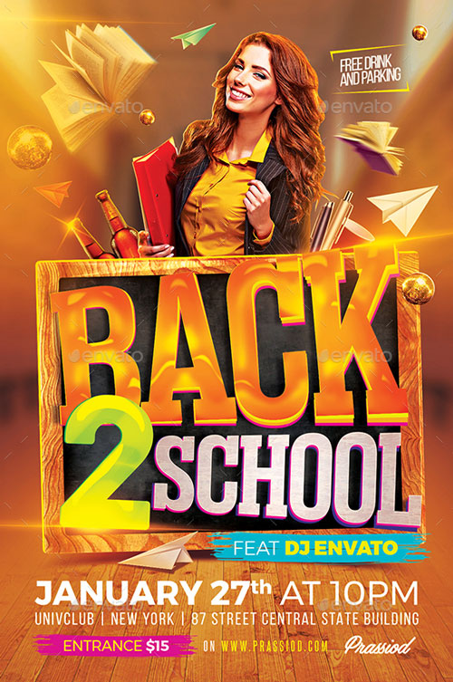 Back 2 School Flyer Template - Flyer for Party and Club Events - free school flyer template