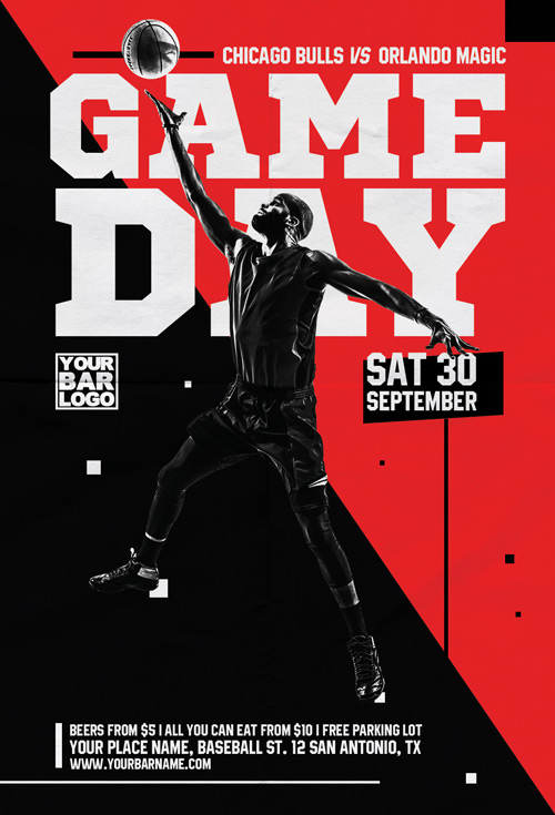 Basketball Game Day Vol 2 Flyer Template - Flyer for Basketball Events