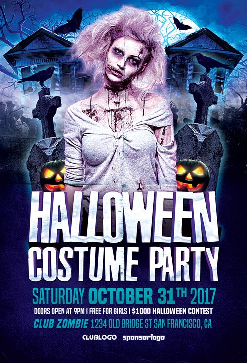 Halloween Costume Party Flyer Template - Flyer for Halloween Events