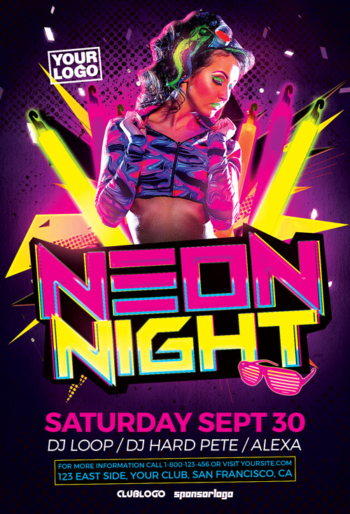 Neon Party Flyer Template for Electro Club Party Events