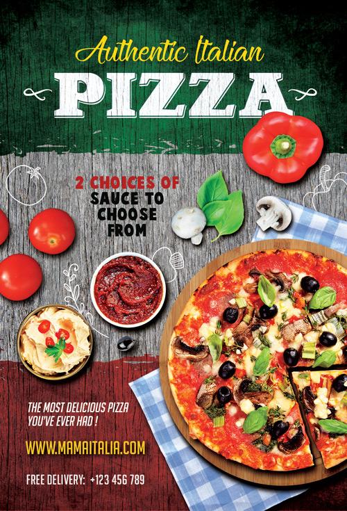 Pizza Restaurant Flyer Template for Italian Restaurant Promotion