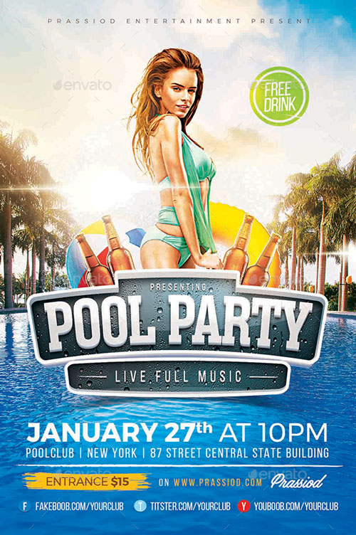 Pool Summer Party Flyer Template for Summer Beach and Pool Parties - party flyer