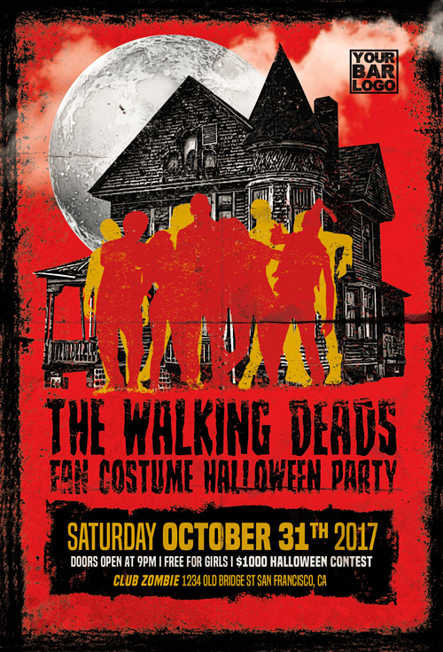 The Walking Dead Party Flyer Template - Flyer for Halloween Events