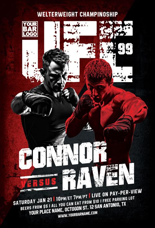 Warriors Night MMA Sport Flyer Template - Download Sports Templates