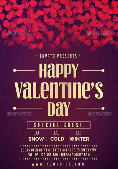 Valentines Party Event Flyer Template for your next V-Day Party Event