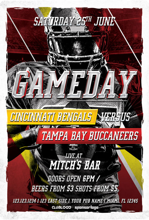 Football Game Day Free Flyer Template for Football Sports Game Events