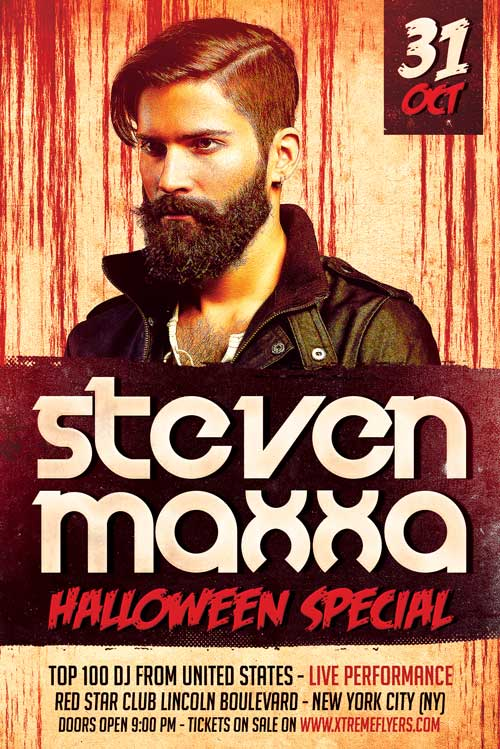 Halloween DJ Free Party Flyer Template for Halloween Events