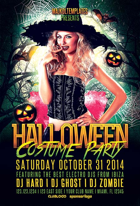 Halloween Costume Event Flyer Template - Flyer for Halloween Events