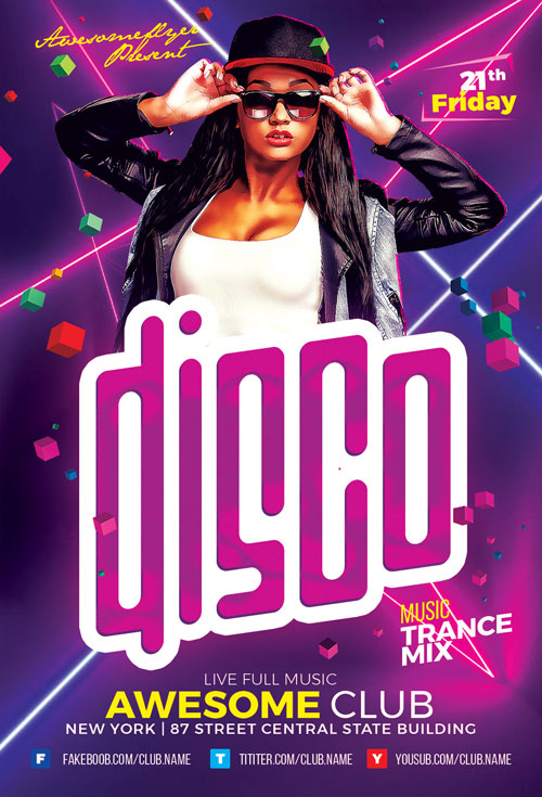 Disco Party Flyer Template - Create Easy Flyer Design for your Club