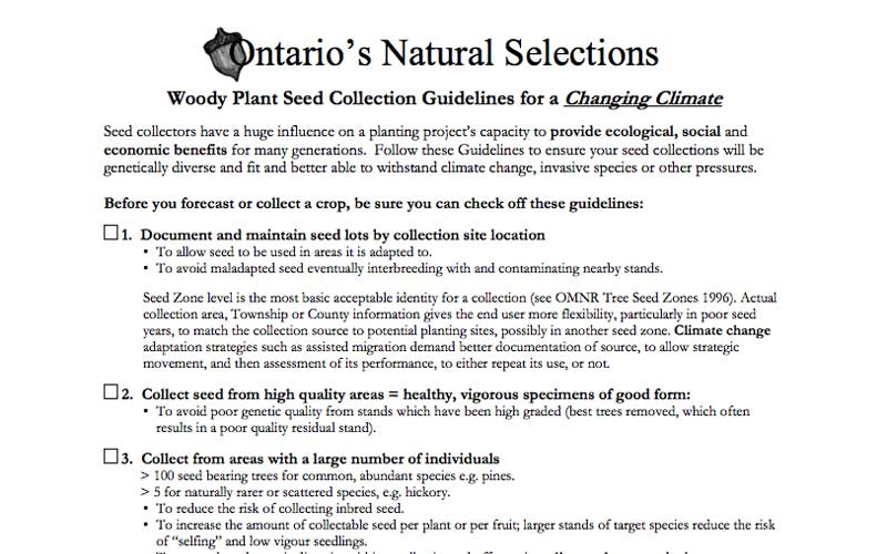 Woody Plant Seed Collection Guidelines for a Changing Climate