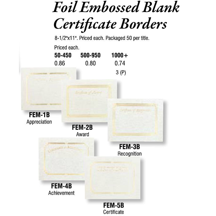 Foil Embossed Blank Certificate Borders - Promotional Items  More
