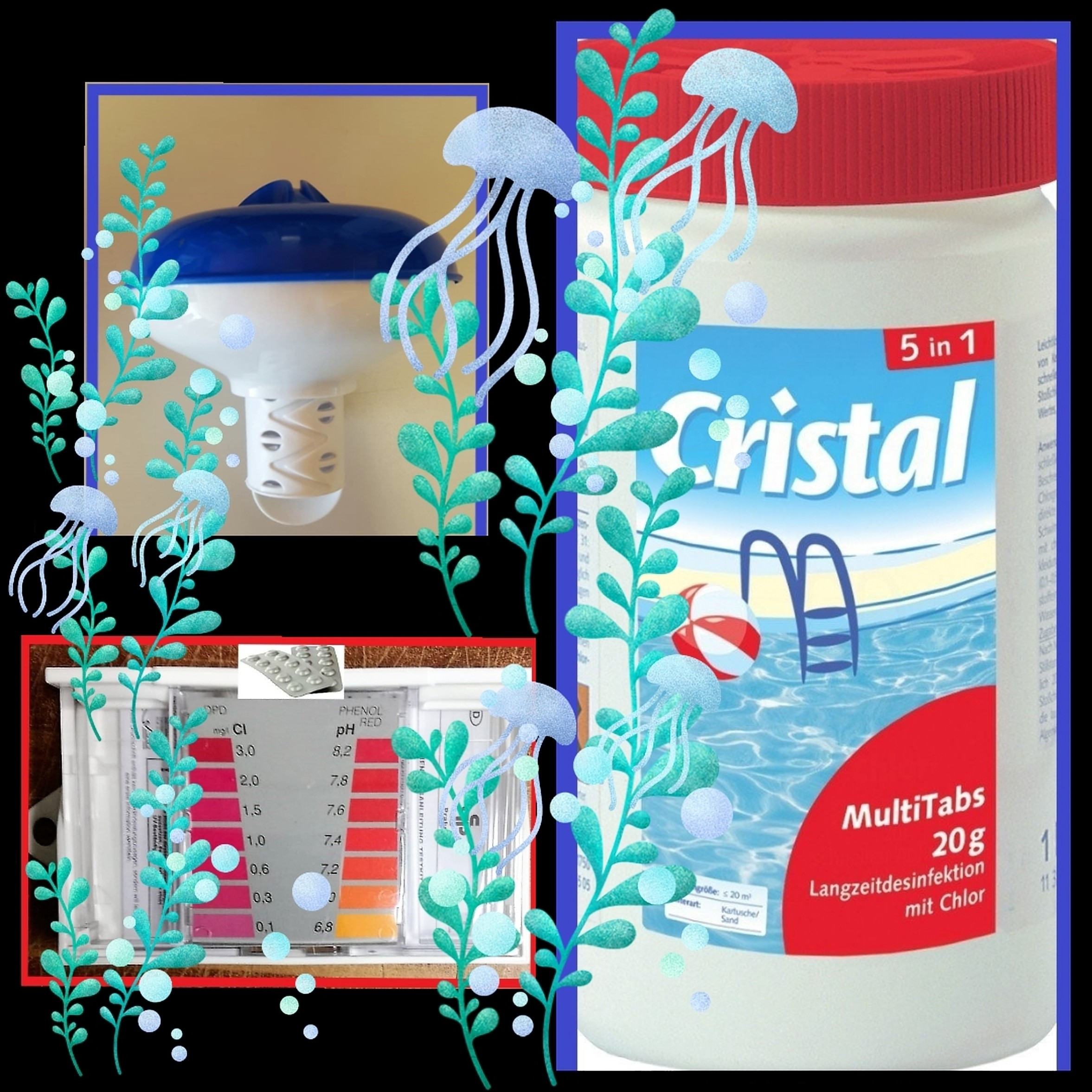 Multitabs Pool Auflösen Cristal Multitabs 20g 5 In 1 5 Kg Eimer 5 In 1 Chlor