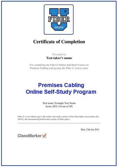 Fiber U Certificate of Completion