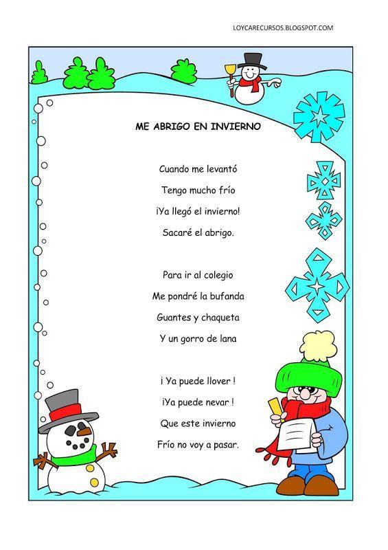 Poemas y rimas del invierno para niños   Fichas de primaria